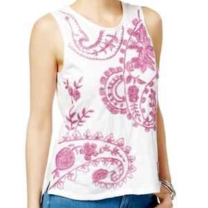 Lucky Brand Embroidered Paisley Cotton Tank S